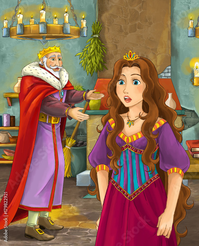 cartoon scene with happy king in castle kitchen and beautiful young lady - illustration for children - 179822921