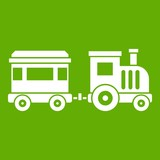 Toy train icon green - 179823185