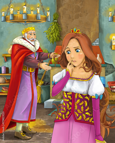 cartoon scene with happy king in castle kitchen and beautiful young lady - illustration for children - 179823120