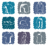 Sportswear icons.Vector illustration