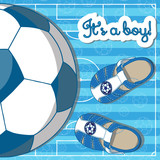 Illustration of a pair of baby's sandals with a soccer ball. Lettering it's a boy!