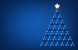 Blue background with Christmas tree. - 179833171