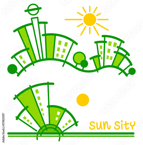 Sun sity. Vector illustration - 179835197