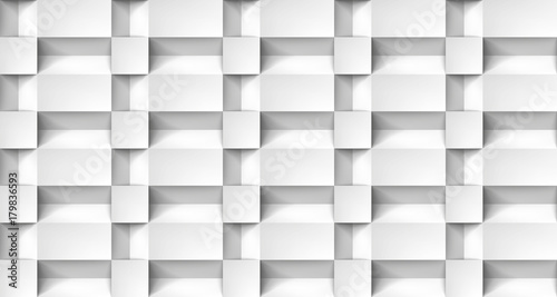 Volume realistic texture, cubes steps, white 3d geometric pattern, design vector light background
