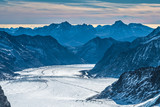 Dramatic Ice and snow landscapes of the Aletsch glacier at the foot of the Jungfraujoch summit, Canton of Bern, Switzerland