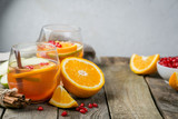 Mulled wine with oranges, pomegranate - 179837909