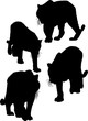 four isolated large black tiger silhouettes