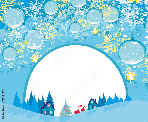 Fotobehang Pool Winter landscape card with Santa