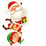 Santa Claus, Reindeer and Elf with blank signboard. - 179839553