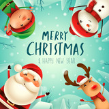 Merry Christmas! Happy Christmas companions. Santa Claus, Snowman, Reindeer and elf in Christmas snow scene. - 179839567