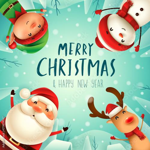 Fotobehang Groene koraal Merry Christmas! Happy Christmas companions. Santa Claus, Snowman, Reindeer and elf in Christmas snow scene.