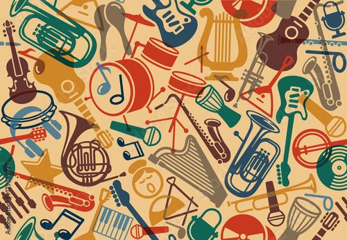 Fototapeta Seamless musical background