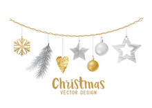Hanging Silver And Gold Christmas Decorations Composition  Fir Tree Branches Wooden Stars And Xmas Baubles  Illustration Sticker