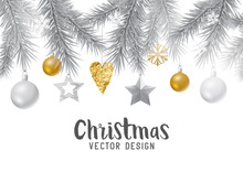 Festive Gold And Silver Christmas   Fir Branches Decorations And Baubles  Illustration Sticker