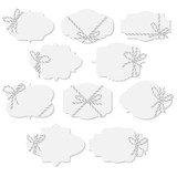 Tags and labels with bakers twine bows ribbons - 179841561