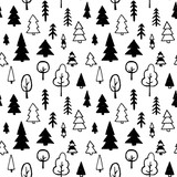 Vector seamless pattern with trees - 179842143