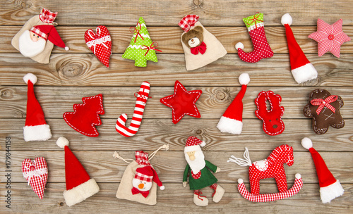 Christmas decorations ornaments wooden background