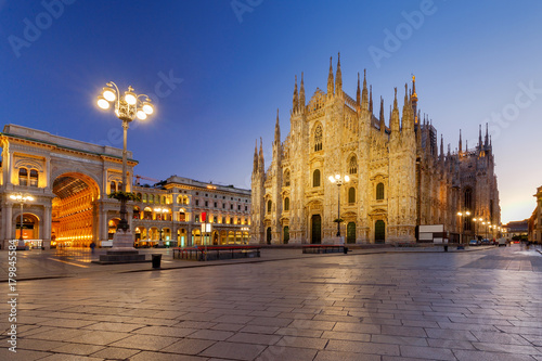 Poster Milan. Cathedral of the Nativity of the Virgin Mary at dawn.