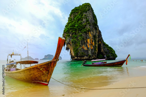 Fotobehang Thailand Long tail beach on the Andaman sea and beautiful beach in Krabi Province of Thailand.