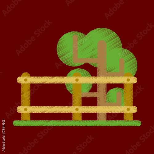 Foto op Plexiglas Bruin Flat Icon in Shading Style Fenced tree