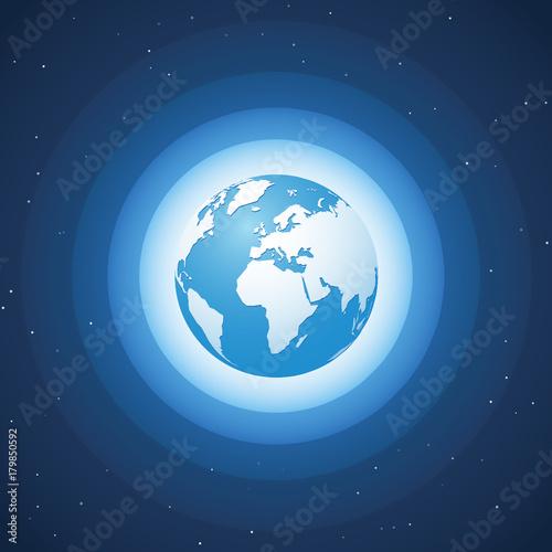world globe on blue wave background Europe