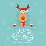 Fototapety Christmas background with happy reindeer