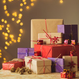 Stack of Christmas presents - 179855129