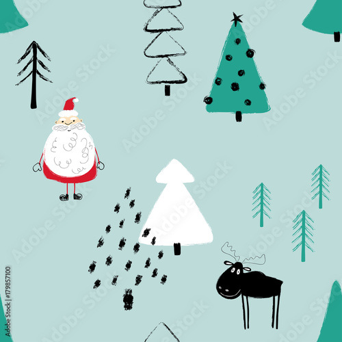 Cotton fabric Funny Christmas Forest Seamless Pattern.