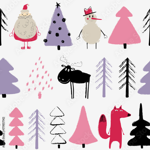 Cotton fabric Funny Christmas Holiday Seamless Pattern.