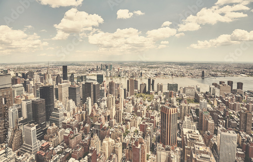 Foto op Aluminium New York Retro toned aerial picture of New York City skyline, USA.