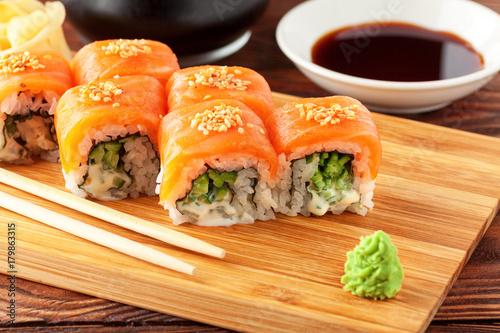 Keuken foto achterwand Sushi bar Japanese sushi rolls