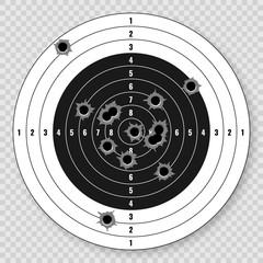 vector rifle target with bullet holes