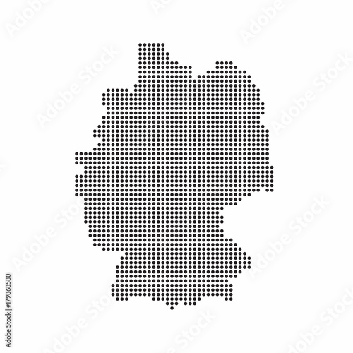 Sticker Germany country map made from abstract halftone dot pattern
