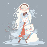 Cartoon, childish illustration of winter princess. Beautiful blond young girl under the snow hugs with cute white polar baby bear with scarf