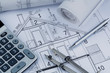 Leinwanddruck Bild - house plan with calculator