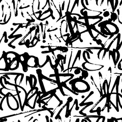 Vector graffiti seamless pattern with abstract tags