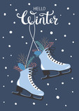 hello winter greeting card with hanging skated decorated with branches twigs leaves - 179875751