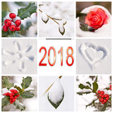 2018, snow and winter red and white nature photos collage - 179878908