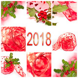 2018 red ribbon and holly square greeting card - 179878960