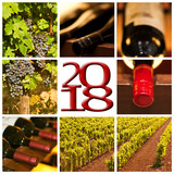 2018 red wine square photos collage greeting card - 179879141