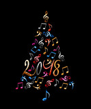 2018 christmas tree with silver metal musical notes isolated on black background - 179879162