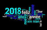 2018 greeting card on black background, new year translated in many languages - 179879172