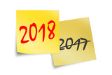 2018 and 2017 written on yellow sticky notes isolated on white - 179879325
