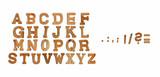 echte Holzbuchstaben auf weiß isoliert A-Z + Sonderzeichen - 179880148