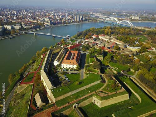 Air view of Petrovaradin fortress and Novi Sad town
