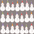 Winter holidays seamless pattern. Snowmen in colored Christmas hats on light brown background. - 179884375