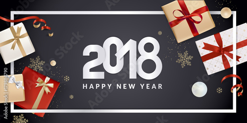 Happy New Year greeting card. Vector illustration concept for greeting cards, web banner, flayer brochure, party invitation card. - 179884790