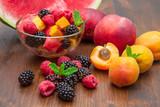 Mixed fruit salad with fresh fruit