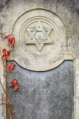 Plakát Jewish Headstone flowers stone symbol embem background cemetery old granit marbl