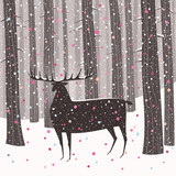 Vector illustration of a deer in a pine tree forest at Christmas time. Winter holidays greeting card. - 179887717